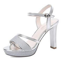 Women's Sparkling Glitter Stiletto Heel Peep Toe Slingbacks