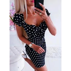 Print/PolkaDot Short Sleeves Bodycon Above Knee Party Dresses