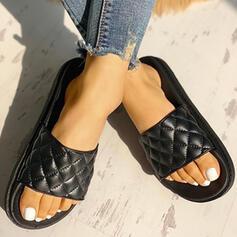Femmes PU Talon plat Sandales À bout ouvert Chaussons chaussures