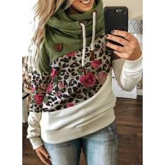 Bloc de culori Floral leopard Mâneci Lungi Hanorac
