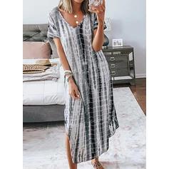 Print Short Sleeves Shift Casual/Vacation Maxi Dresses
