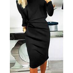 Sequins/Solid Long Sleeves Bodycon Knee Length Little Black/Elegant Pencil Dresses