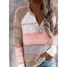 Blok Kolorów Dekolt w kształcie litery V Casual Swetry