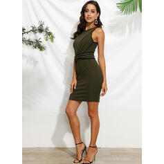 Solid Sleeveless Bodycon Knee Length Casual Pencil Dresses
