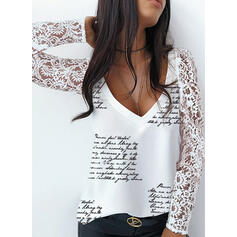 Print Lace Figure V-Neck Long Sleeves Elegant Blouses
