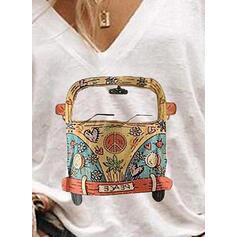 Print V-Neck 1/2 Sleeves Casual T-shirts