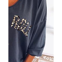 Print luipaard V-hals 3/4 Mouwen Casual T-shirts