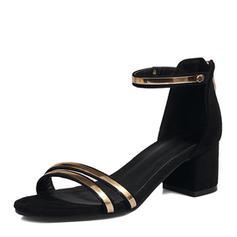 Femmes Suède Talon bottier Sandales Escarpins À bout ouvert avec Zip chaussures