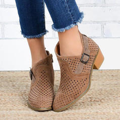 Vrouwen PU Low Heel Closed Toe Laarzen Enkel Laarzen met Gesp schoenen