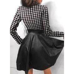 Imprimeu Mâneci Lungi Tip A-line Deasupra Genunchiului Elegant Patenci Elbiseler