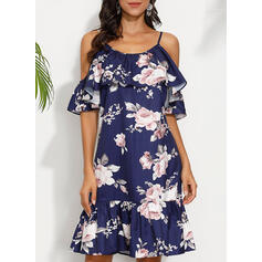 Print/Floral Short Sleeves/Cold Shoulder Sleeve Shift Above Knee Casual/Vacation Dresses
