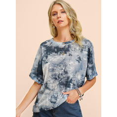 Print Round Neck 1/2 Sleeves Casual Blouses