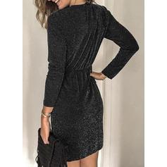Solide Lange Mouwen Koker Boven de knie Zwart jurkje/Feest/Elegant Jurken