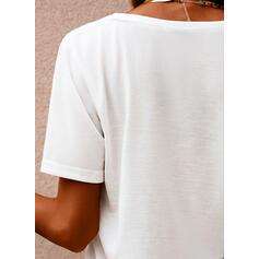 Hjerte Print V-hals Korte ærmer T-shirts