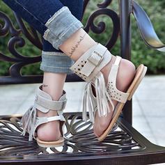Kvinner Semsket Flat Hæl Sandaler Flate sko med Tassel sko