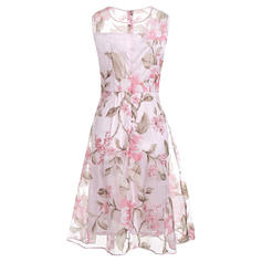 Print/Floral Sleeveless A-line Knee Length Vintage/Casual/Party/Elegant Dresses