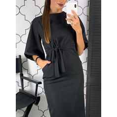 Solid Mâneci Lungi/Mânecă Lanternă Conică Până la Genunchi Negre/Casual/Elegant Kalem Elbiseler