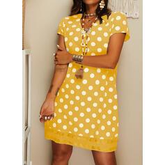 PolkaDot Short Sleeves Shift Knee Length Casual T-shirt Dresses