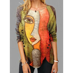 Print Round Neck Long Sleeves Button Up Casual Blouses