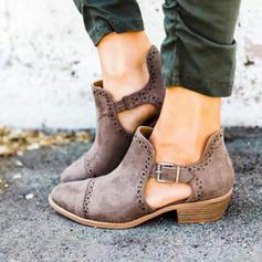 Frauen PU Stämmiger Absatz Stiefel Stiefelette mit Schnalle Schuhe