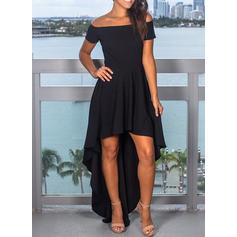 Solid Short Sleeves A-line Asymmetrical Little Black/Party/Elegant Dresses