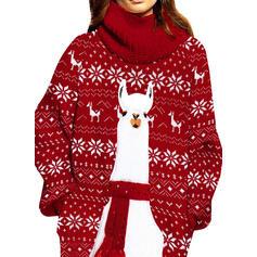 Αποτύπωμα Ζώου Αναγύριστος Γιακάς Καθημερινό Μακρύ Χριστούγεννα Φόρεμα Πουλόβερ