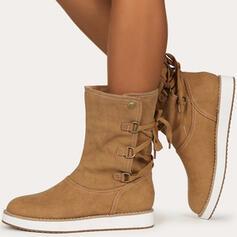 Pentru Femei Imitaţie de Piele Fară Toc Cizme Cizme până la jumătatea gambei cu Cataramă Lace-up Culoare solida pantofi
