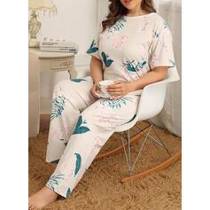 Gola Redonda Manga Curta Floral Tamanho positivo Attractive Conjuntos de pijamas