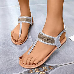 Women's PU Flat Heel Sandals Flats Peep Toe Flip-Flops With Rhinestone Buckle shoes