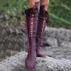 Kvinner Lær Flat Hæl Knehøye Støvler med Blondér sko