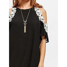 Lace/Solid 1/2 Sleeves/Cold Shoulder Sleeve Shift Above Knee Casual/Elegant Dresses