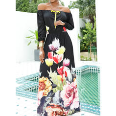 Print/Floral 1/2 Sleeves A-line Skater Party/Elegant Maxi Dresses