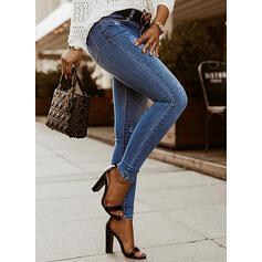 Jednolity Dżinsowa Długo Elegancki Duży rozmiar Pocket Ripped Dżinsy