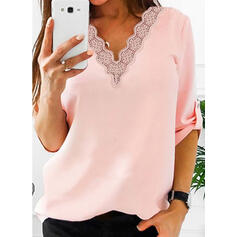 Solid Lace V-Neck 3/4 Sleeves Button Up Casual Blouses