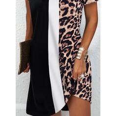 Color-block/Leopard Krátké rukávy Splývavé Nad kolena Neformální Tunika Šaty