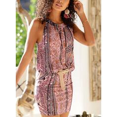 Print Sleeveless Sheath Knee Length Casual/Boho/Vacation Dresses