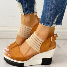 Mulheres PU Plataforma Sandálias com Fivela sapatos