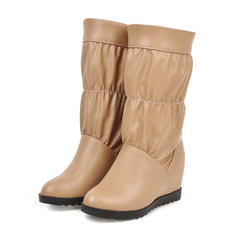 Women's Leatherette Low Heel Mid-Calf Boots With Ruffles shoes