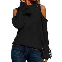 Solid Cold Shoulder Flare Sleeve Long Sleeves Casual T-shirts