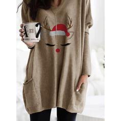 Print Pockets Round Neck Long Sleeves Christmas Sweatshirt