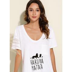 Zwierzęcy Dekolt w kształcie litery V Krótkie rękawy Casual Dzianina T-shirty