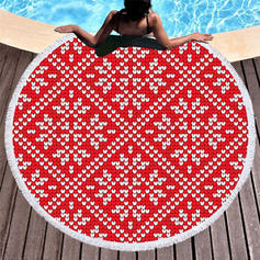 Geometric Print Oversized/round Beach Towel