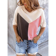 Color Block Round Neck 3/4 Sleeves Casual Blouses