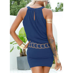 Print Sleeveless Sheath Above Knee Casual/Vacation Tank Dresses