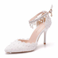 Women's Leatherette Stiletto Heel Closed Toe Pumps With Beading Tassel Applique Crystal