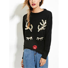 Solid Print Christmas Round Neck Sweaters