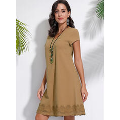 Lace/Solid Short Sleeves Shift Knee Length Casual Dresses