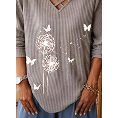 Animal Print Dandelion V-Neck Long Sleeves Casual Knit Blouses