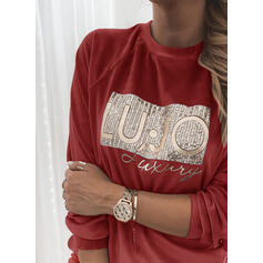 Sequins Figure Round Neck Long Sleeves Sweatshirt
