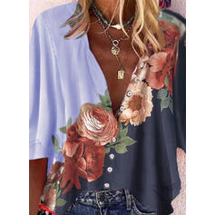 Stampa Floreale Scollatura a V Maniche a 3/4 Bottone Casuale Shirt and Blouses